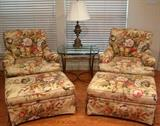 Hickory Chair sovereign Collection Floral Barkcloth Upholstery Easy Chairs with Down Filled Back Cushions and Matching Ottomans