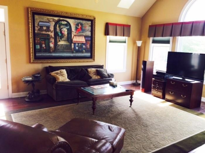Ethan Allen Couch, Leather Arm Chair and Ottoman and Wood/Glass Coffee Table, Contemporary Area Rug, Bombay Brass/Glass Elephant End Table, Floor Torch Lamp, Game Chest, TV Stand and Storage Chest, Custom Ethan Allen Window Treatments, Huge Miroslav Original/Signed Oil & Acrylic on Canvas French Landscape (Wentworth Gallery Short Hills, NJ)