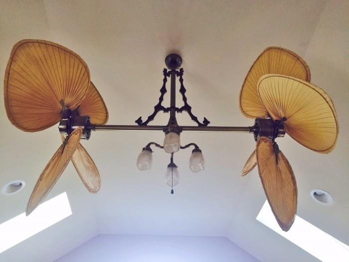 Ceiling Furniture! Unique Twin Horizontal Palm Leaves & Antique Brass Ceiling Fan
