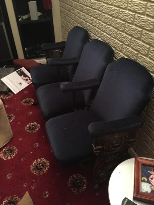 ANTIQUE 1900S CAST IRON SIDES, REUPHOLSTERED MOVIE THEATER SEATING FOR 3