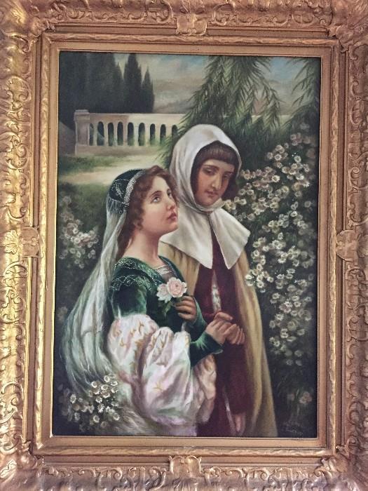 """Cesare Saccaggi """"Dante and Beatrice in the Garden"""" OIL ON CANVAS"""
