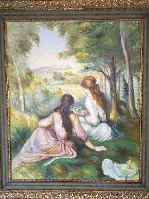 REPOP PAINTING BY RENOIR -TWO GIRLS IN THE MEADOW