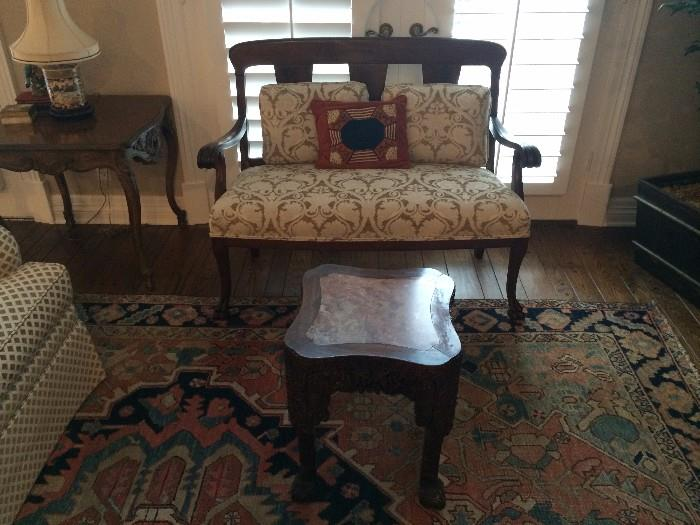 Antique settee and small marble-top table