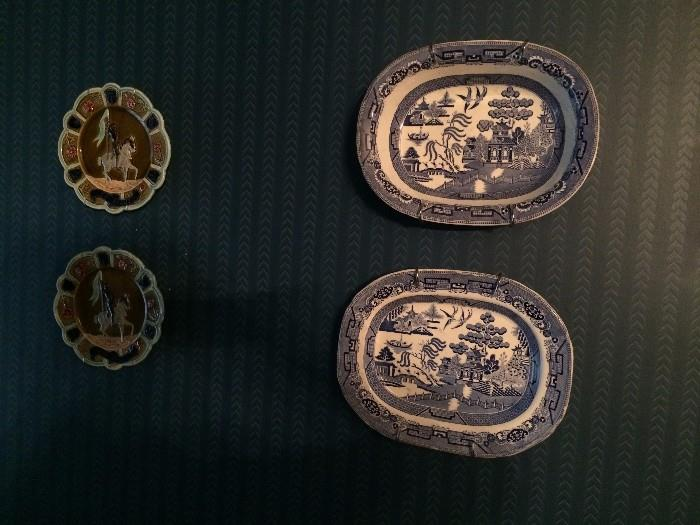 Majolica plates; Blue Willow platters