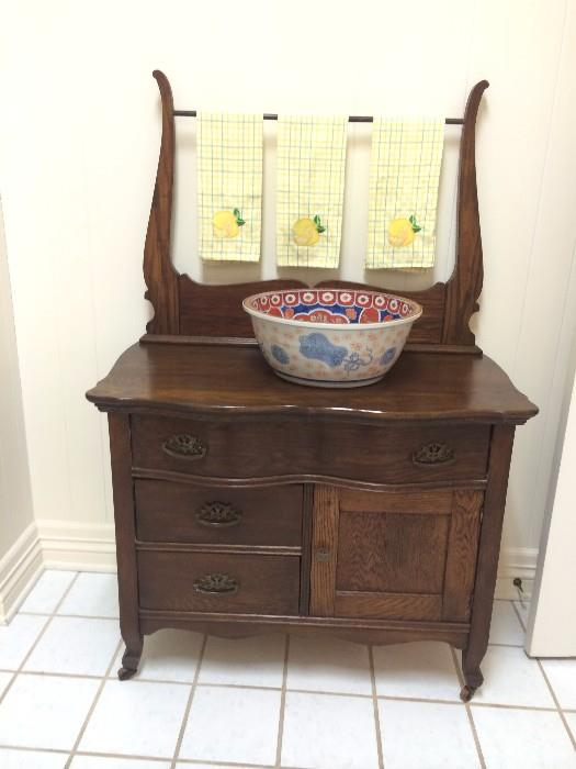One of two antique washstands