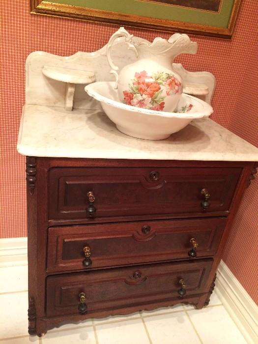 Three drawer antique wash stand and bowl & pitcher