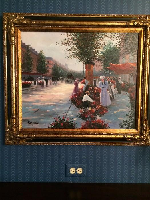 One of the lovely framed art selections