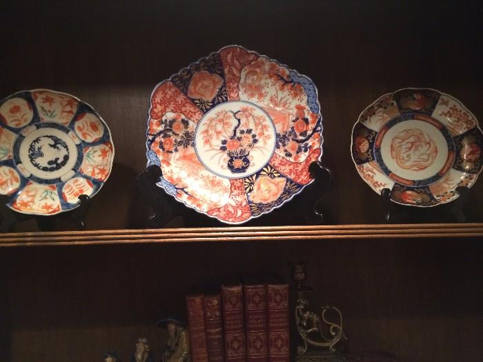 Antique books; Imari plates