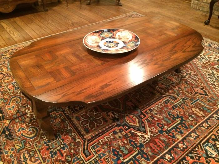Drop leaf coffee table; fabulous rug; Imari charger
