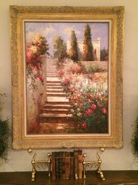 Framed art; antique books