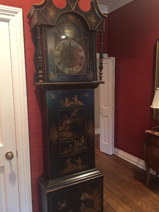Hand-painted (Asian scenes) grandfather clock