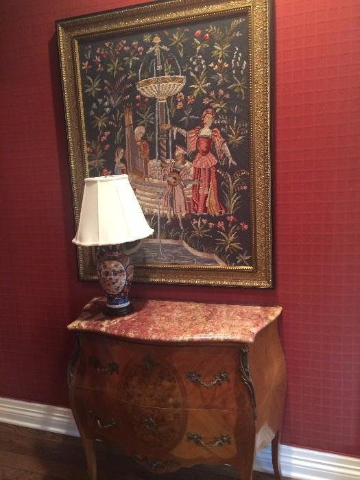 Marble top Bombay chest & English tapestry