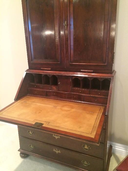 Secretary with leather top writing surface