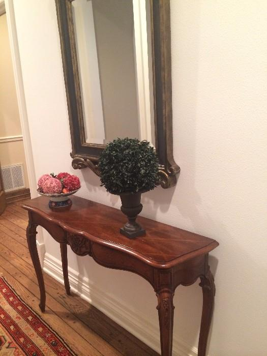 Sofa/entry table; large mirror