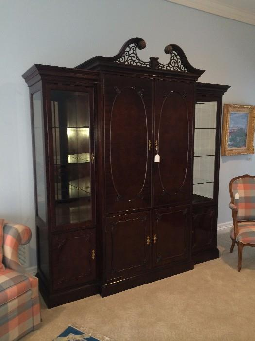 Century wall unit/display cabinet with beautifully carved crown