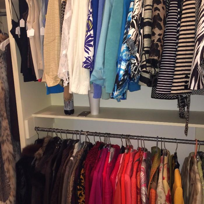 Large assortment of suits and other clothes including Worth, Carlisle, St John, Valentino, etc.