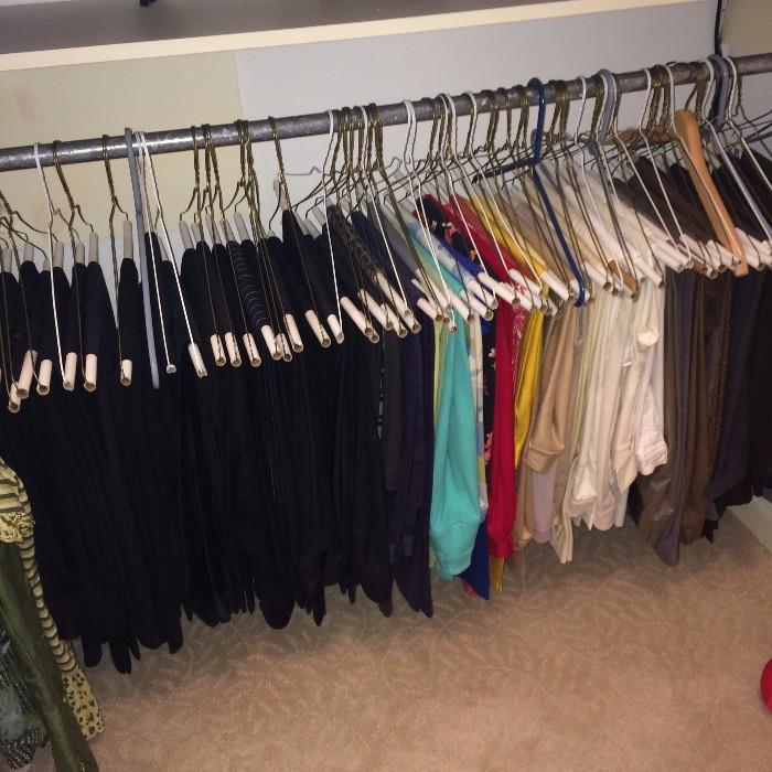 Many slacks are in the clothes selections.