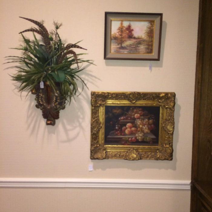 Wall floral arrangement; framed art