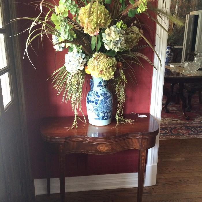 Blue & white porcelain vase with hydrangea floral arrangement