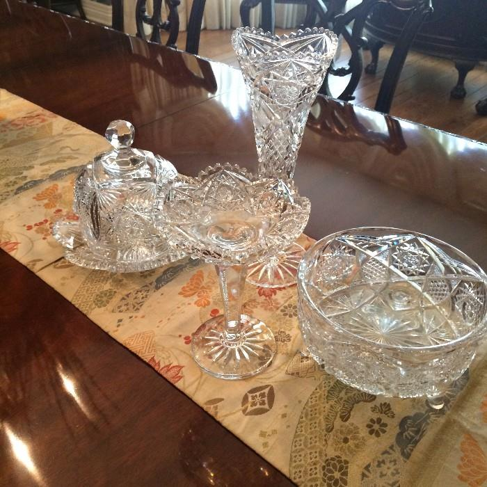 Lovely serving pieces of cut and pressed glass