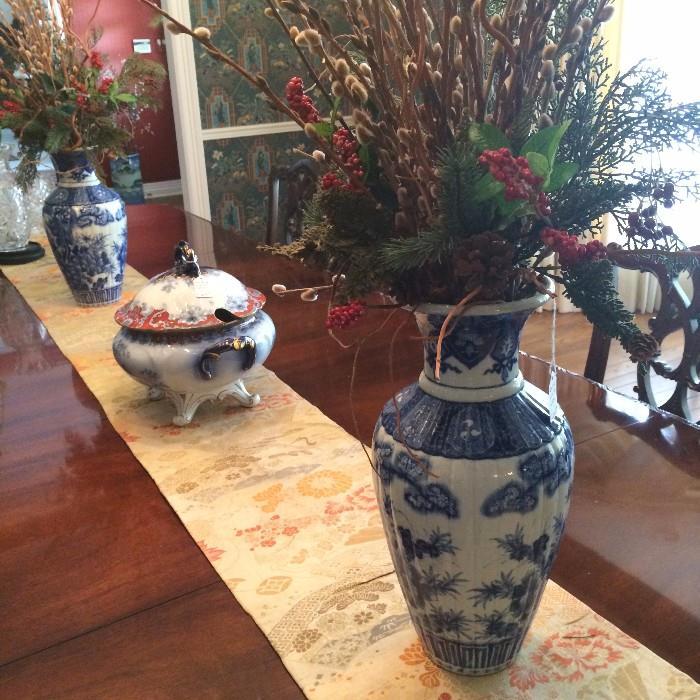Lovely antique tureen; blue & white pair of vases; silk runner