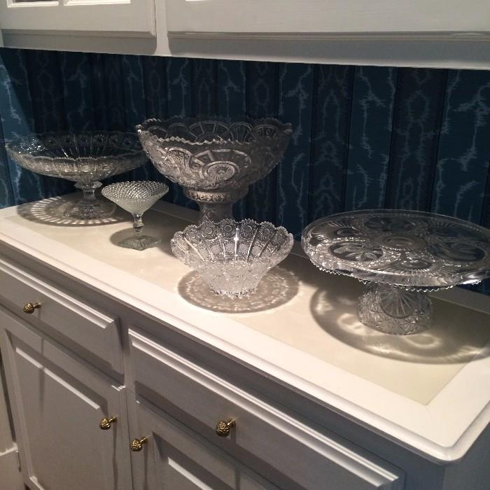 Great selection of crystal and cut glass serving pieces