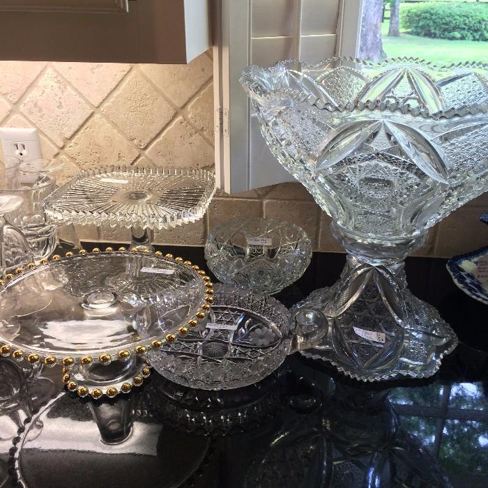 More of  the crystal, pressed glass, and cut glass serving pieces