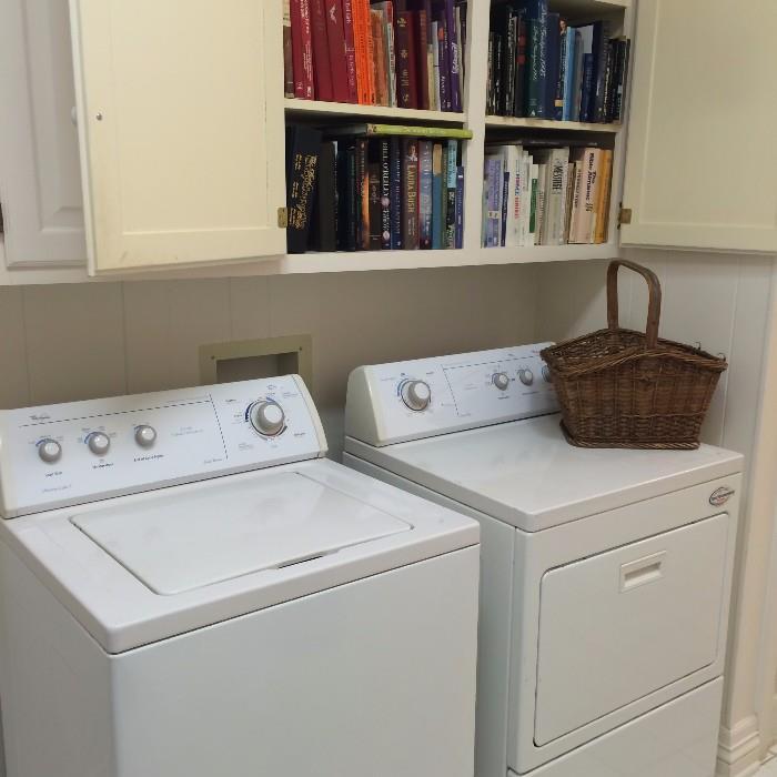 Whirlpool washer & dryer; many cookbooks