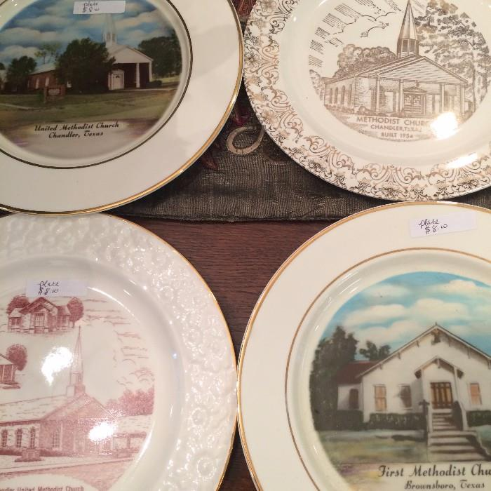 Plates representing historic churches of East Texas
