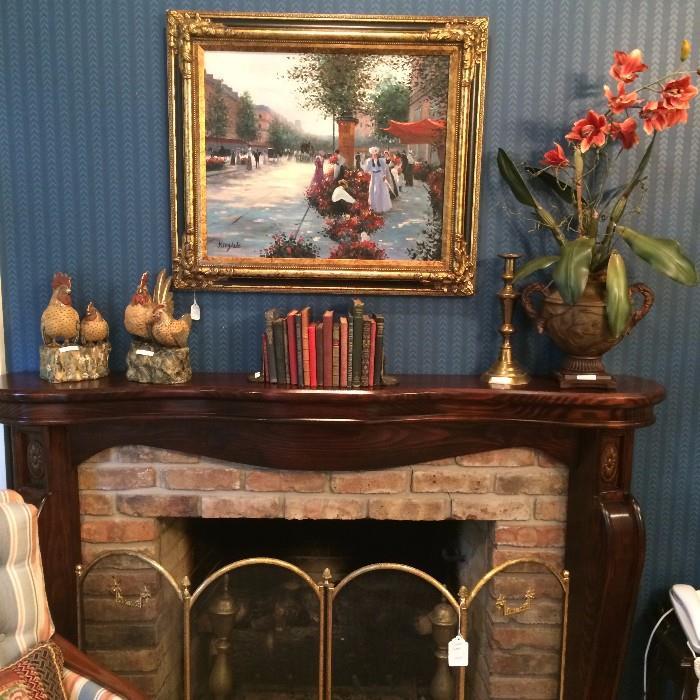 Framed art; pair of chickens/hens; antique books, floral arrangement; brass fire screen