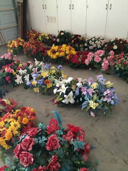 Many floral arrangements