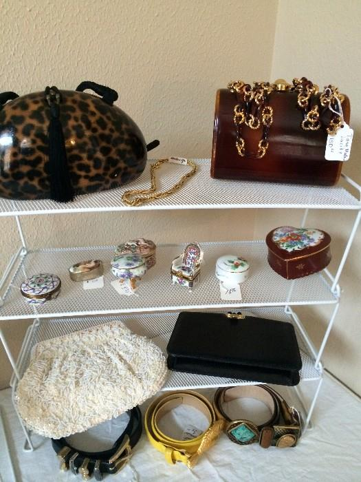 Hinged box collection; lovely handbags & belts