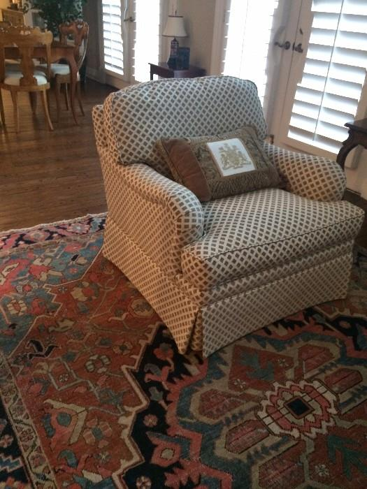 One of several comfortable club chairs
