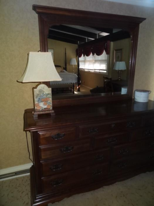 """Sterling House Cherry Dresser with mirror. Measures 64""""W X 34"""" H X 20"""" Deep, Mirror measures-39"""" Tall X 47"""" W"""