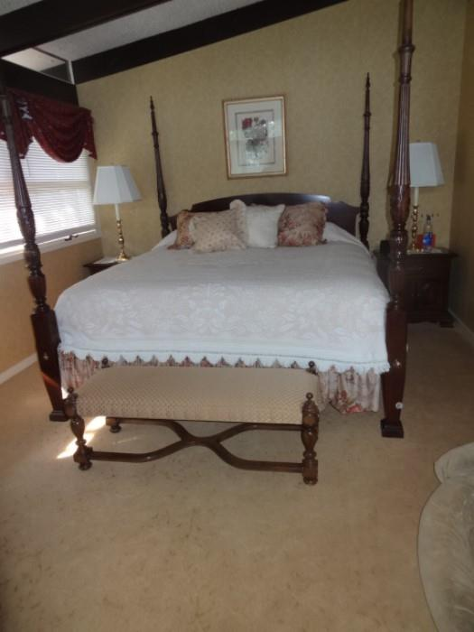 "King Size Cherry 4 poster Bed-measures 82""W X90"" Long X 86""High Posts purchased from Autumn Traditions in Bernardsville"