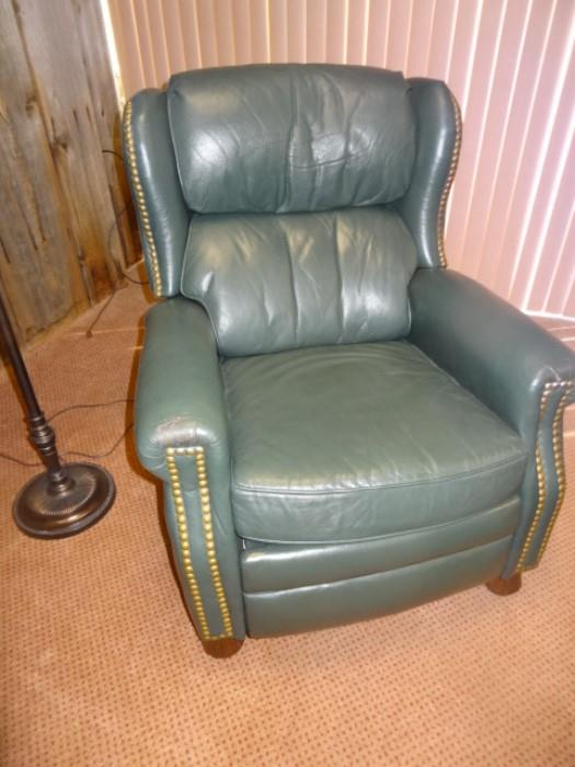 Bradington Young Green Leather Recliner