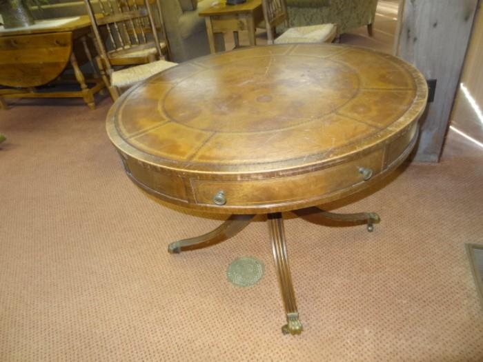 """Leather Top Drum Table measures 39""""Round X 29""""H"""