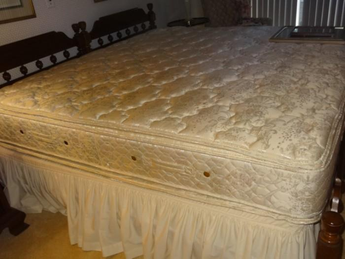 King Size Head Board with 2 Twin Mattress/Boxspring Sets