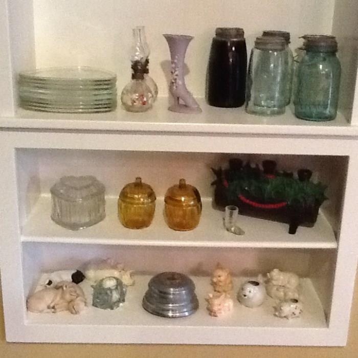 Goebel collectables, blue mason jars antique server glass