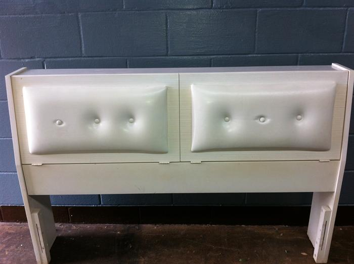 Vintage bookcase headboard just waiting to be turned into a redo retro bench! (Two loose buttons and no rails.)