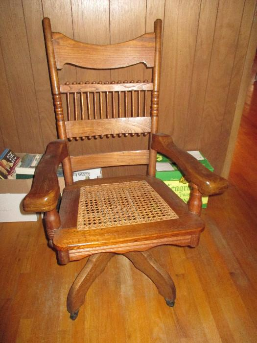 Vintage Cane Seated Swivel Desk/office Chair.  Excellent Condition
