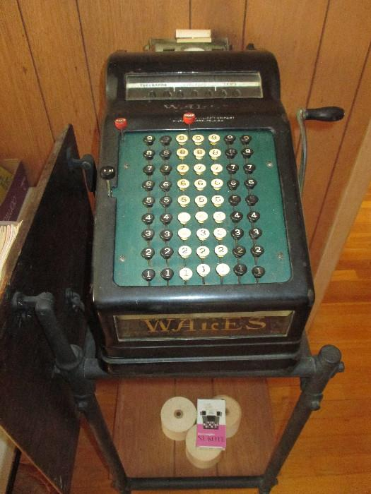 Vintage Wales Adding Machine And Stand