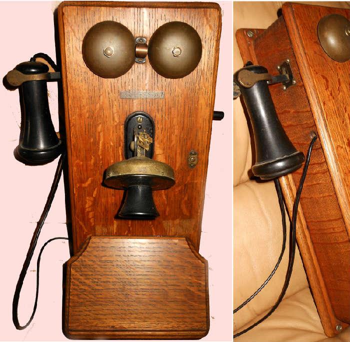 Excellent Antique Oak Telephone