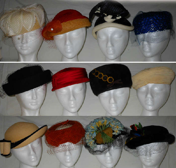 Nice Selection of Vintage Lady's Hats, some are quite unique