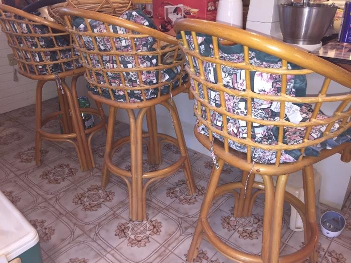 Three Vintage rattan bar stools