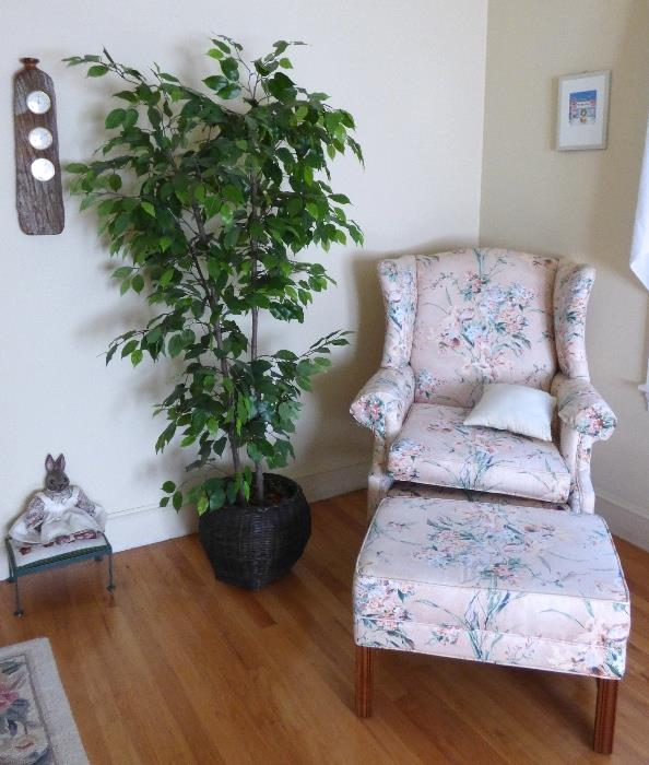 Chippendale Wing Back Chair with Ottoman