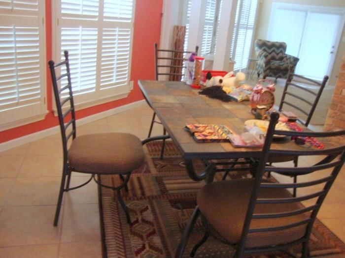 Slate Top Dining Table and Chairs