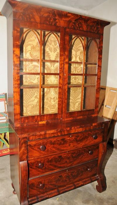 American Empire Mahogany Step-Back Cupboard Heavily Figured Mahogany  Top Glass Doors with Gothic Style Stiles  Top Drawer is a Drop Front Desk