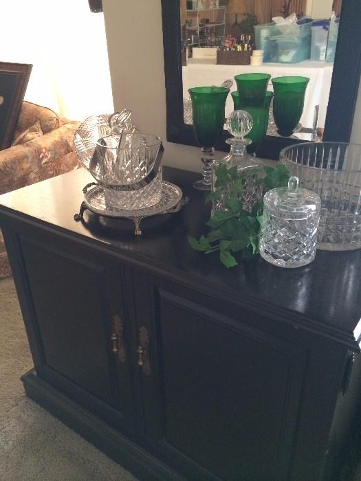 Lovely serving plate & ice bucket; colorful glassware; crystal biscuit barrel & bowl