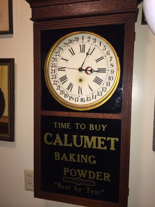 Calumet Baking Powder antique clock